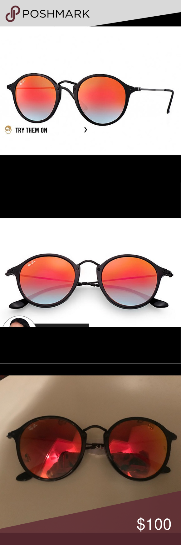 7d19e588866 NWT RAY-BAN  ROUND FLECK FLASH LENSES GRADIENT NEW WITH TAGS  RAY ...