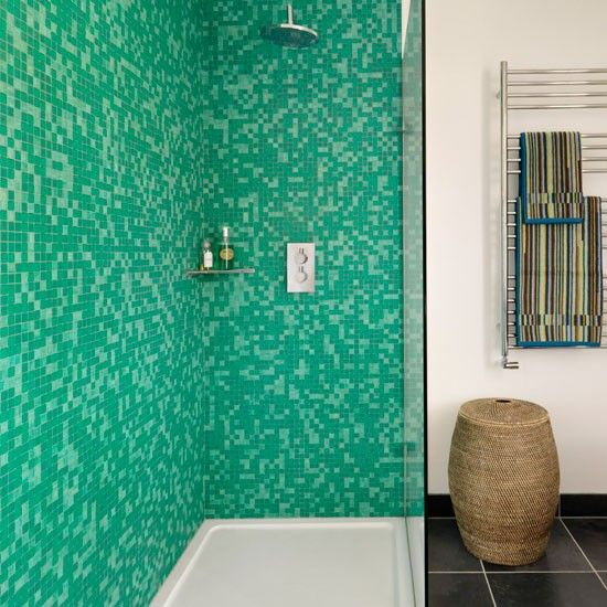 The Green Mosaic Tiles On Wall Of This Walk In Shower Teamed With Plain White And Grey Slate Floor Keep Look Smart Urban