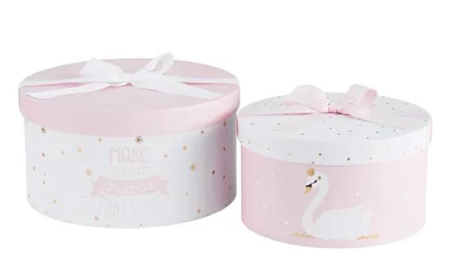2 Boites Rondes En Carton Imprime Rose Et Blanc Maisons Du Monde Boite Ronde En Carton Carton Boite
