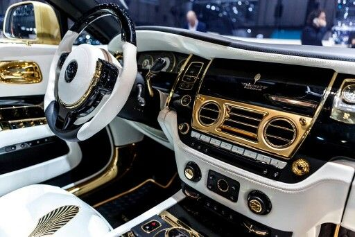 White And Gold Custom Rolls Royce Wraith Interior