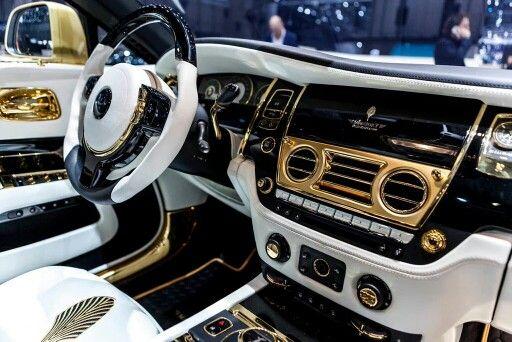 white and gold custom rolls royce wraith interior | cars | pinterest
