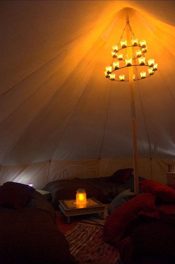 Candlelit Bell Tent This Makes Me Want To Go Camping Candle Chandelier Bell Tent Dream House Interior