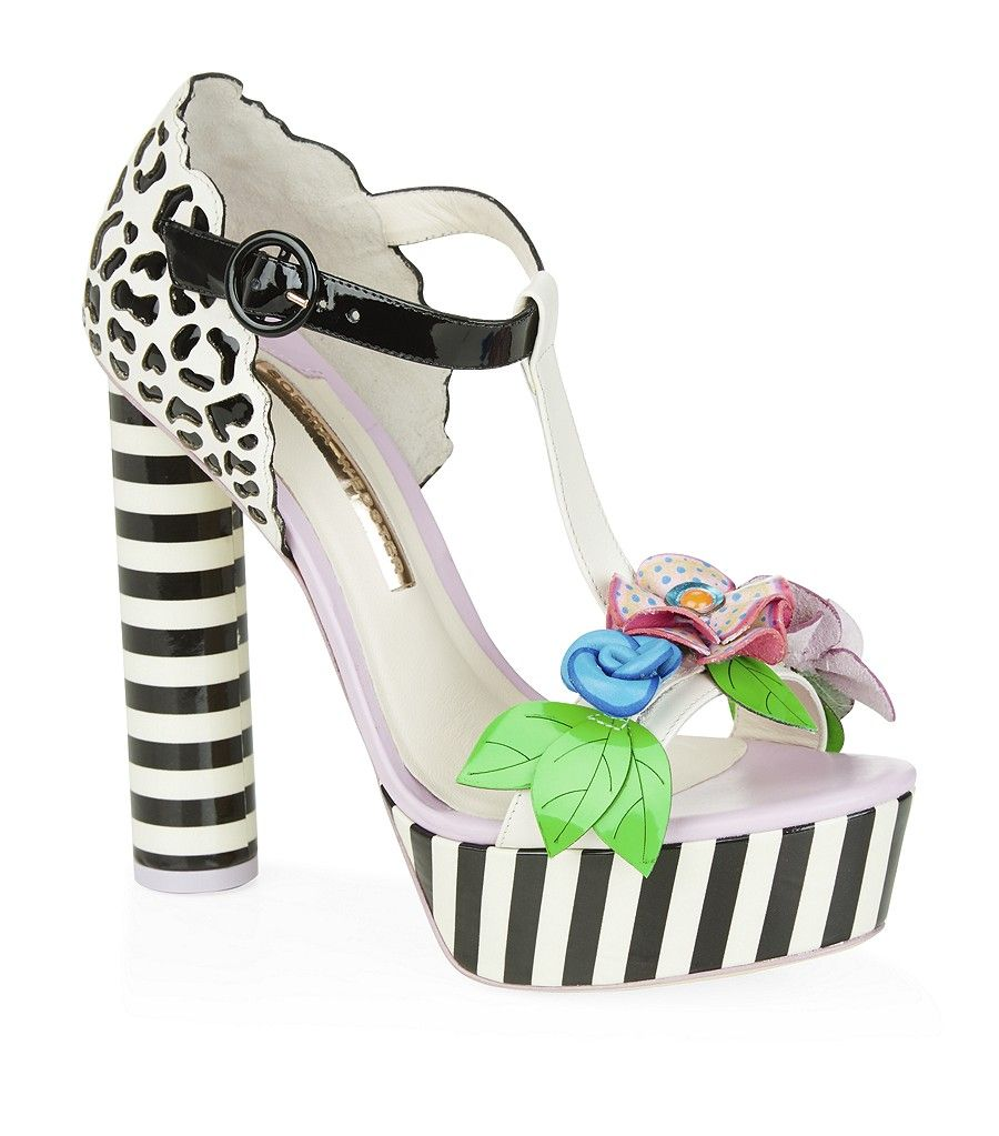 Sophia Webster Platform Black & White Striped Floral Sandal 2015