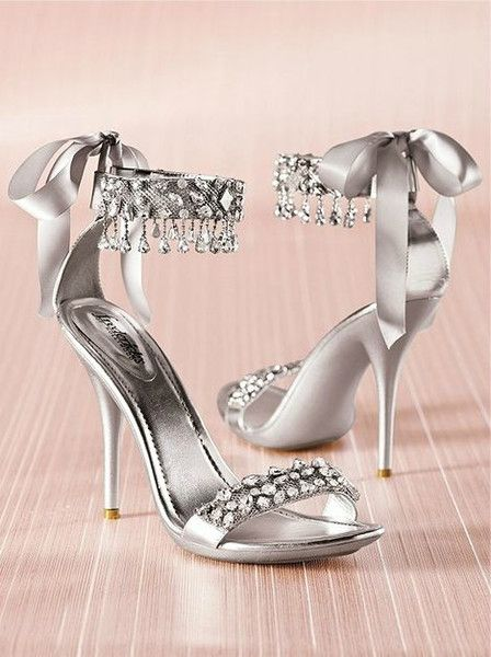 New Fashion Wedding Shoes Silver Rhinestone High Heels Women S