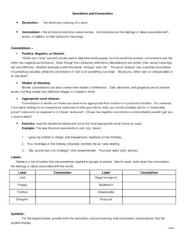 Connotation And Denotation Handout Persuasive Writing Prompts