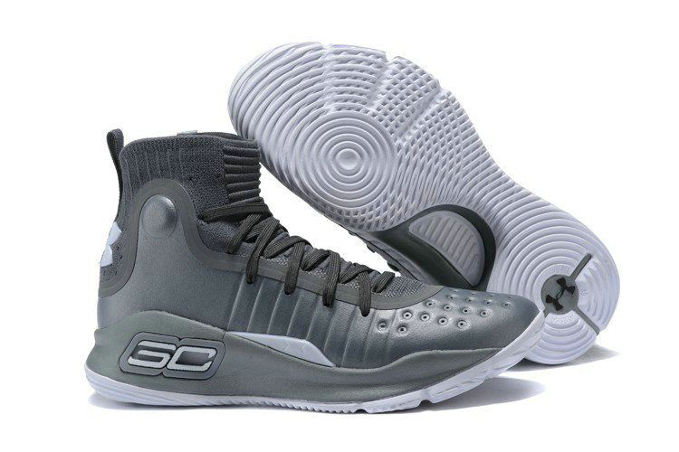 2018 Purchase Under Armour Curry 4 Grey White Stephen Curry Basketball Shoe  For Sale 0008f245157