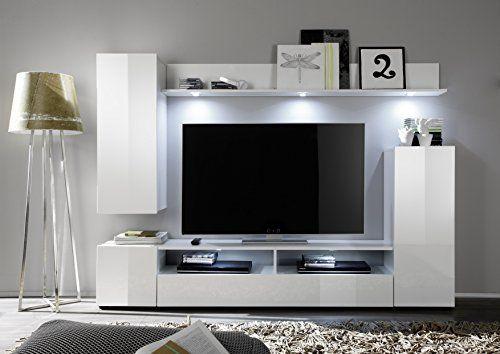Soggiorno moderno teseo composizione mobile porta tv con led parete di design