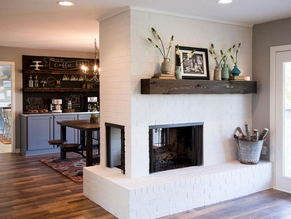 Check out how cool this floating mantel is! Shop our mantel