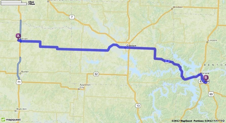 Driving Directions from Adrian  Missouri to Warsaw High School in     Driving Directions from Adrian  Missouri to Warsaw High School in Warsaw   Missouri 65355