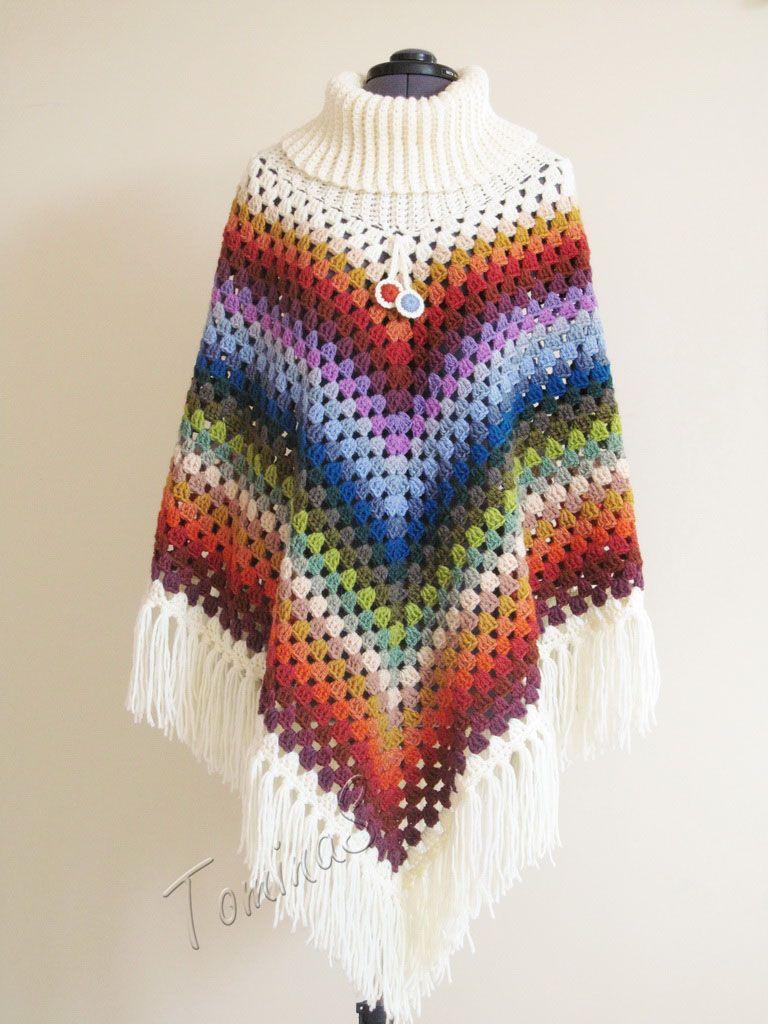Crochet poncho - cowl neck poncho - autumn poncho - spring poncho ...