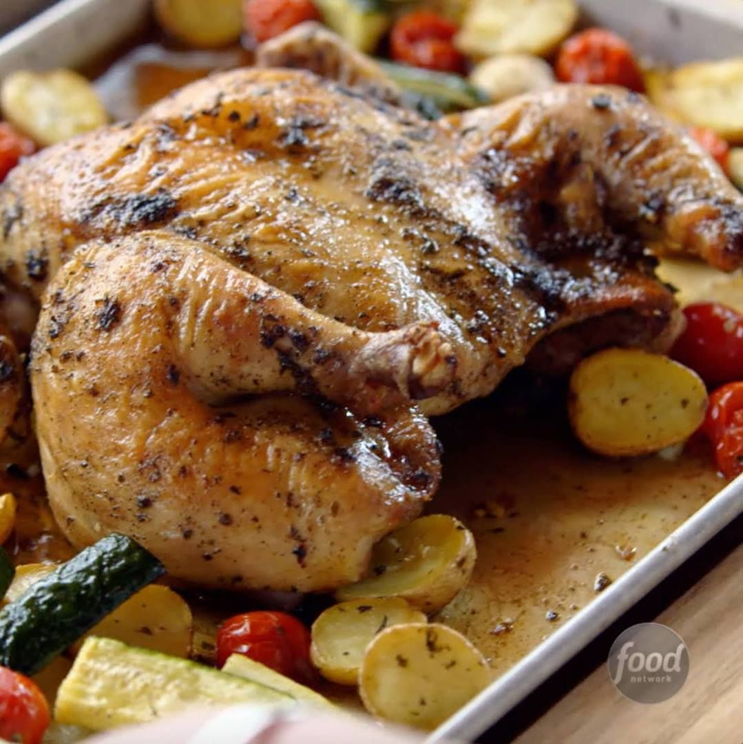 Spatchcock Chicken Sheet Pan Supper - Cooking TV Recipes