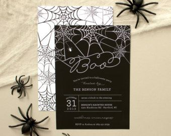 Web | Spiderweb Halloween Party Invitation, Creepy Halloween Party Invite (set of 20)