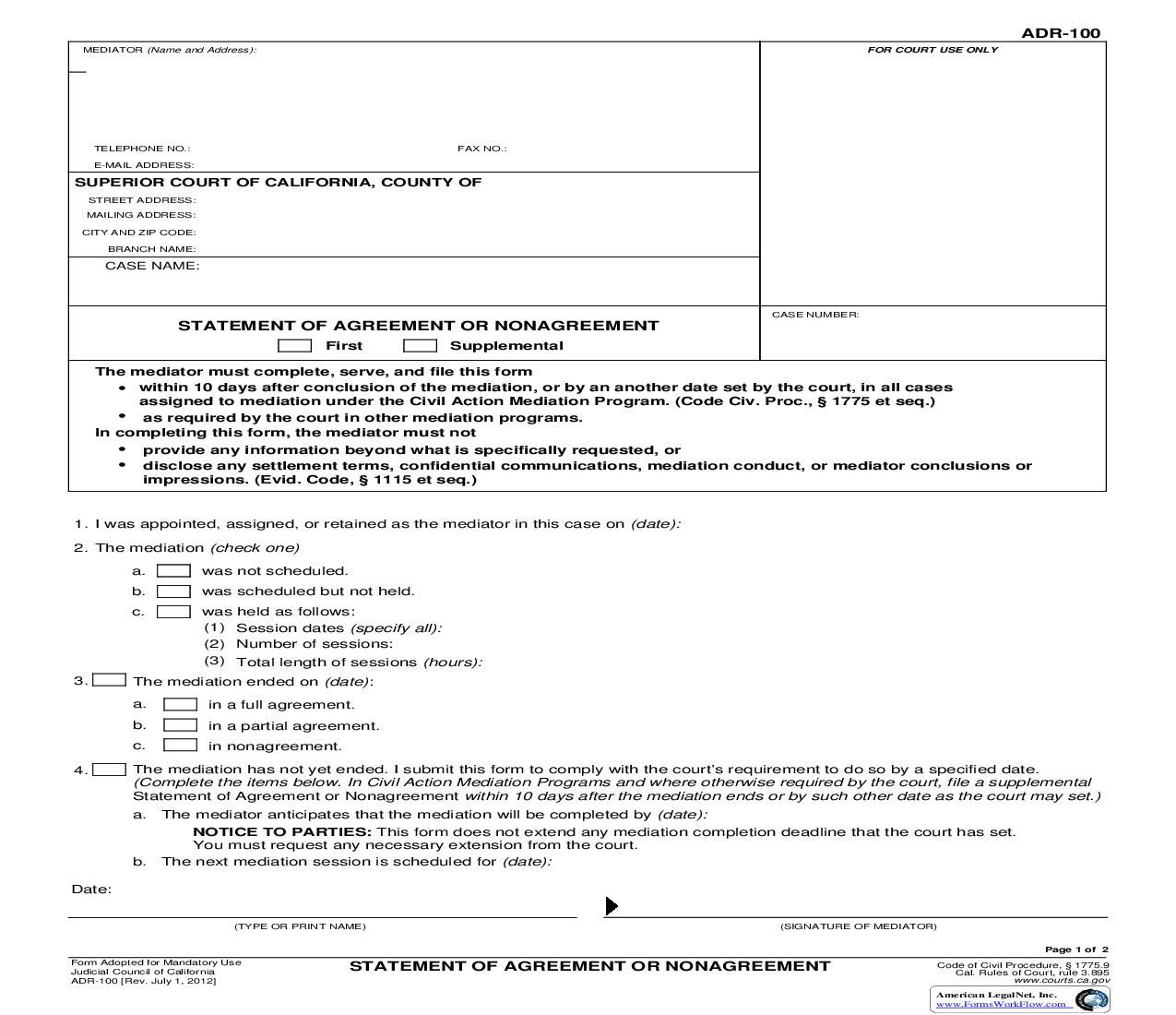This Is A California Form That Can Be Used For Alternative Dispute Resolution Within Judicial Council Down Alternative Dispute Resolution California Statement