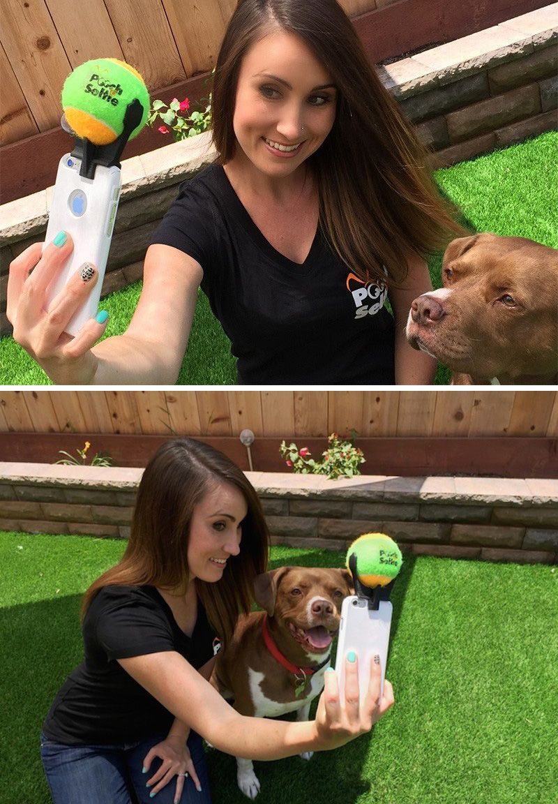 The creative people at Clever Dog Products have launched a kickstarter campaign for PoochSelfie, a smartphone attachment that holds a tennis ball, making it easier to get a good selfie with your dog.