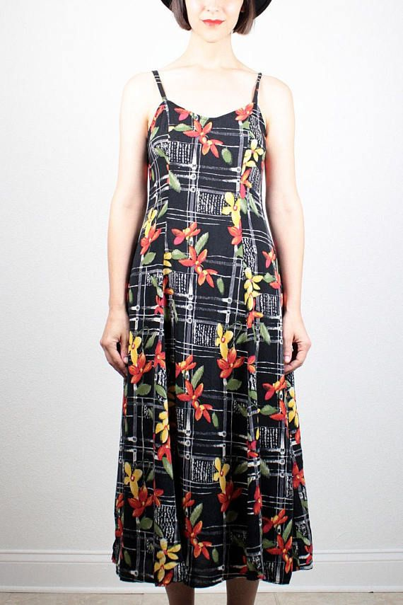 f1504f5bf32 Vintage 90s Dress Midi Dress Black Yellow Red Green Floral Print Sundress 1990s  Dress Soft Grunge Dress Draped Indie Hipster Dress M Medium  1990s  90s ...