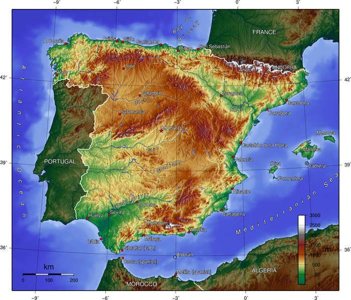 Topographie spanieng elevation map of spain spain pinterest topographie spanieng elevation map of spain gumiabroncs Gallery