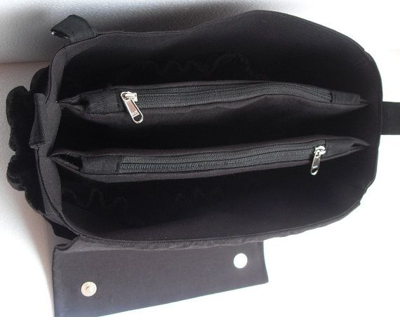 Extra Taller Bag Organizer For Tote Purse Insert With Two Divider Zipper Compartment