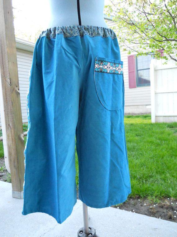 SALE Aqua Corduroy Hippie Patchwork SHorts by attickpatchwork, $20.00