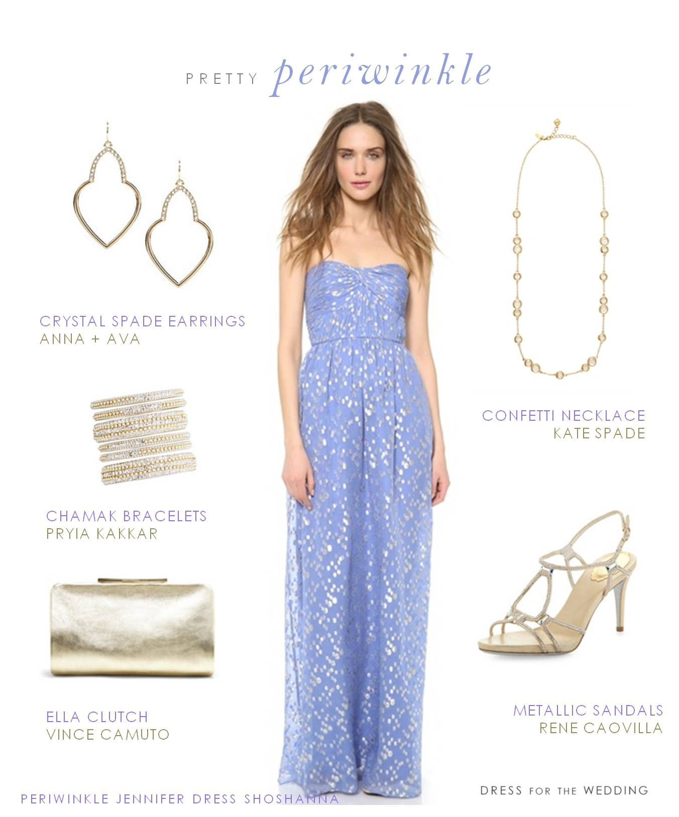 Periwinkle Gown Strapless Dress Formal Gold Wedding Guest