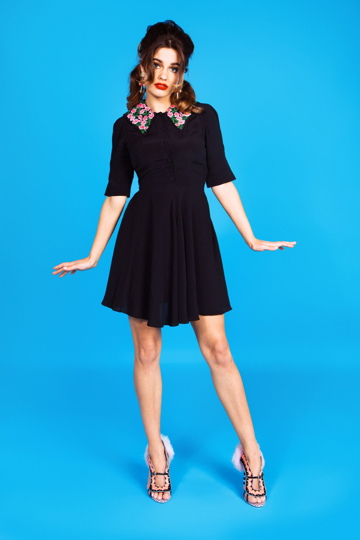 Made in black crepe in our most popular shaped dress with pink ...