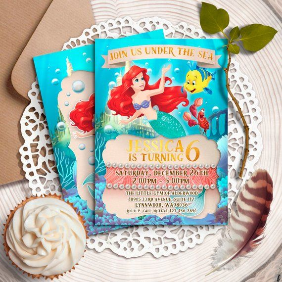 Little Mermaid Invitation Disney Ariel Invite Birthday Invitations Princess