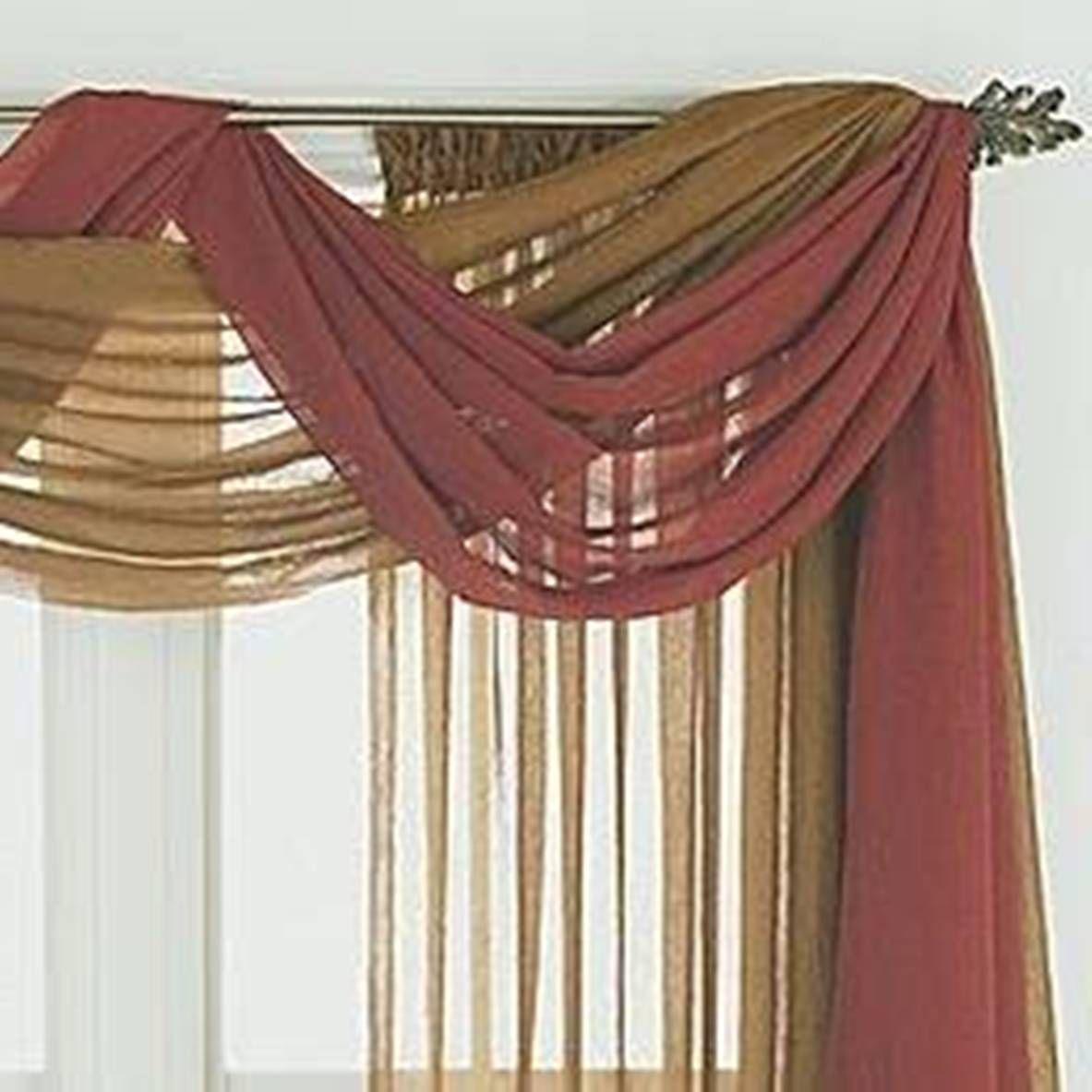 home design and decor , pretty window scarf ideas : double colors