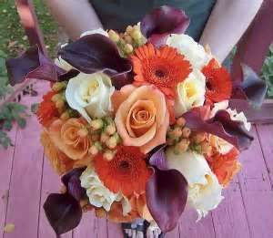 Image detail for -Deep Purple Calla Lilies with Peach Roses and Gerbera Daisies with ...