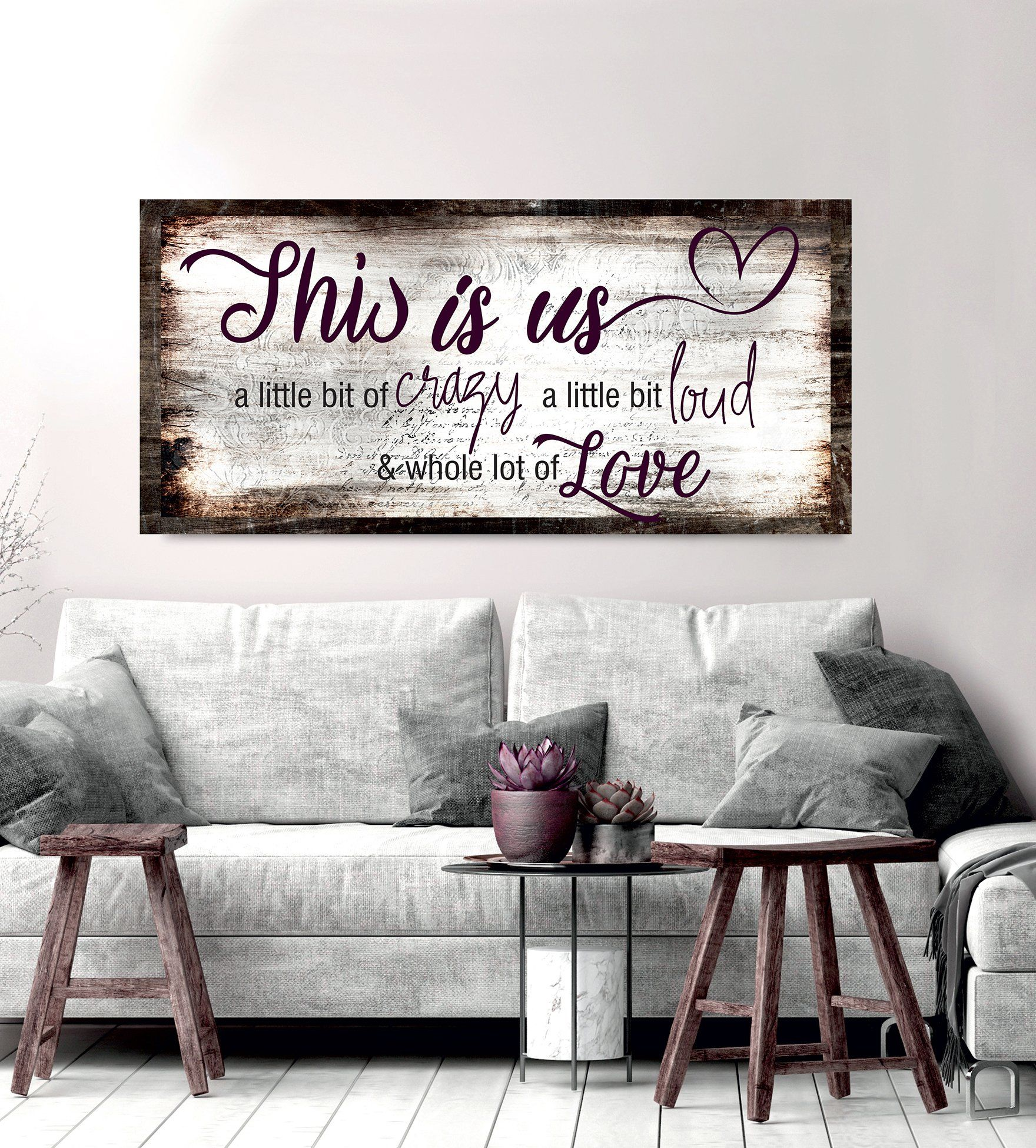 Family Wall Art This Is Us A Little Crazy V2 Wood Frame Ready To Hang Family Wall Art Family Wall Home Wall Art