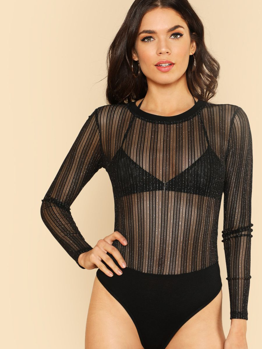 Glitter Striped Mesh Bodysuit  b9546ff51