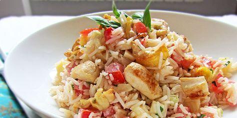 Hladna ljetna salata s piletinom-SUPER,piletina,paradajz,riza,sir,majoneza