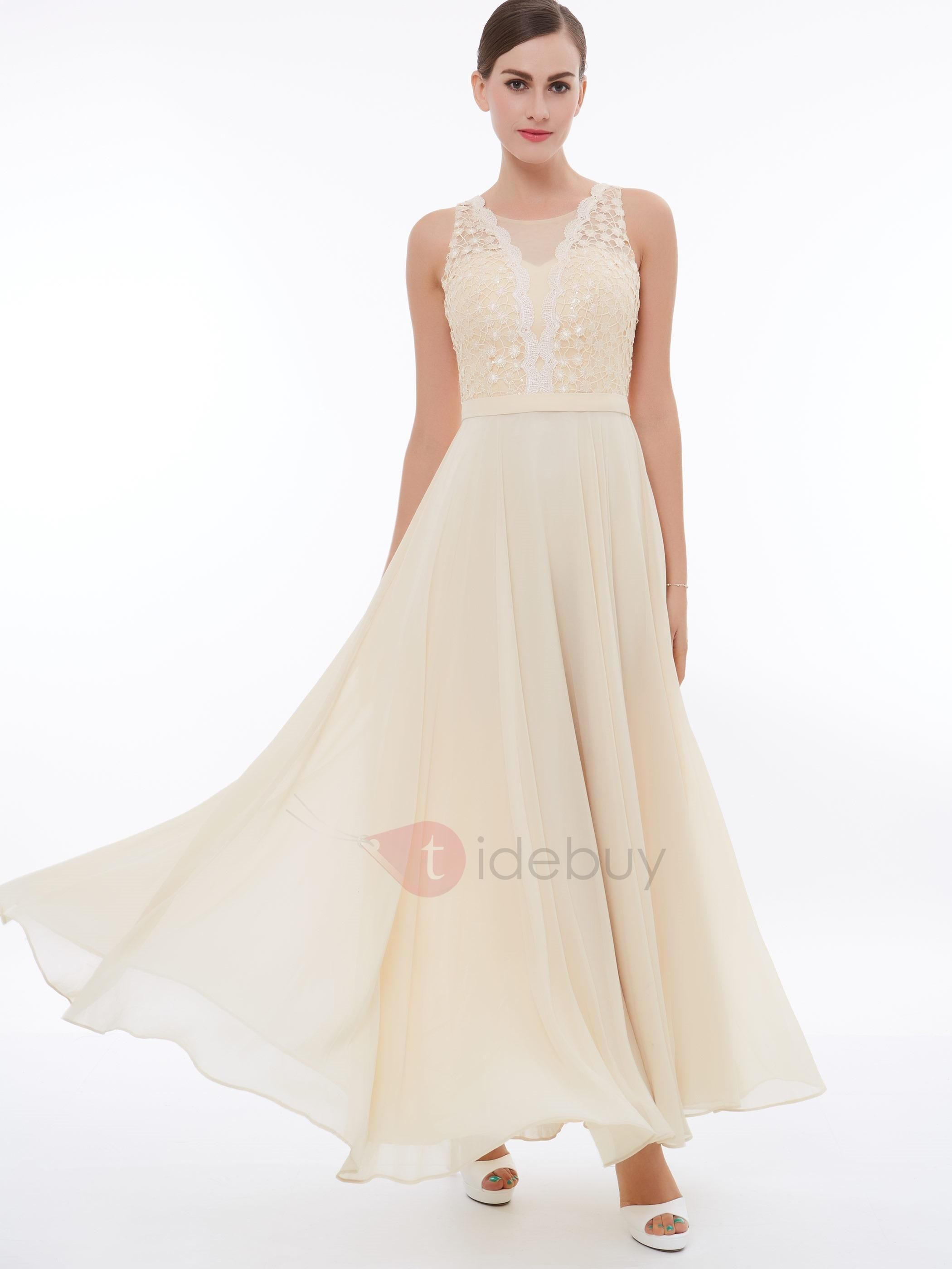 Elegant aline scoop lace anklelength evening dress ankle length