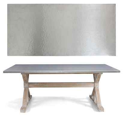Quentin Dining Table Is A Transitional Dining Table By Bernhardt Interiors.  A Hand Hammered Stainless Steel Top Compliments The Solid Mindi Wood  Trestle ... Nice Design