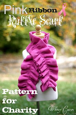 Pink Ribbon Ruffle Scarf Using Fleece Six Dollar Pattern For