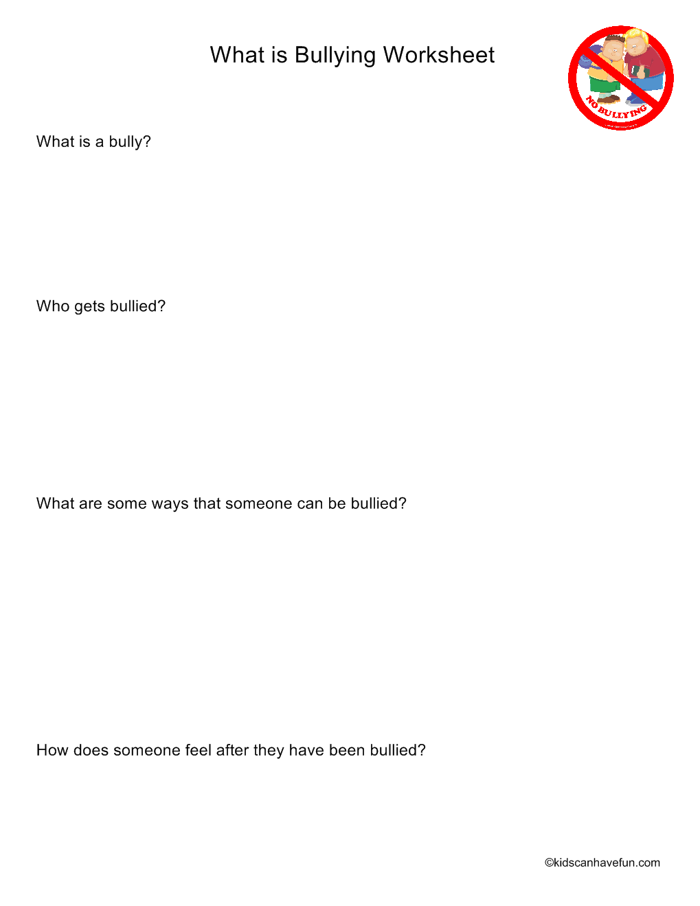 What is Bullying Worksheet Summer school