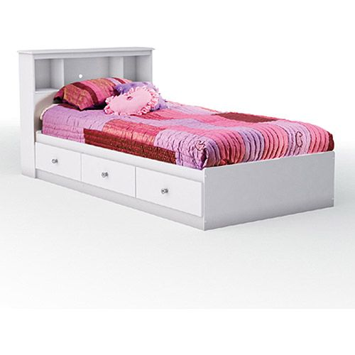 White Twin Captains Bed With Bookcase Headboard South Shore