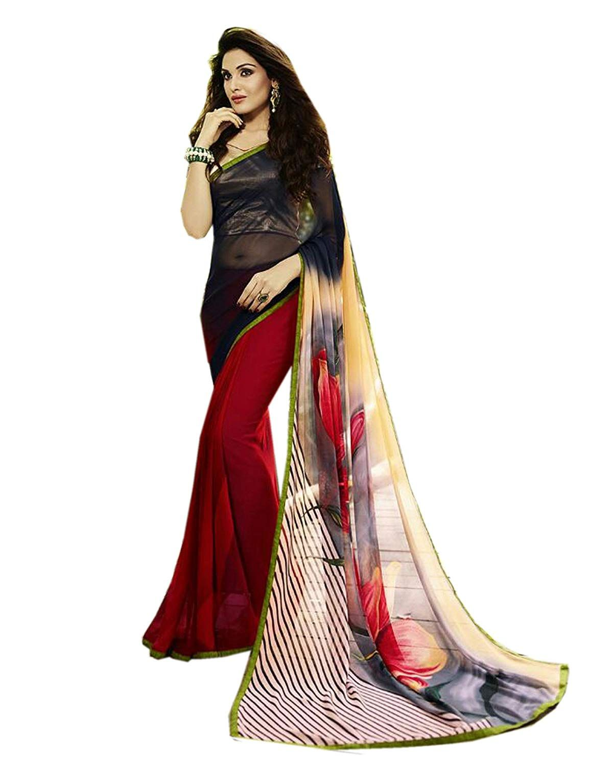 64dd481262 Nishad Creation Girl's Fashionable Georgette Saree: Amazon.in: Clothing &  Accessories