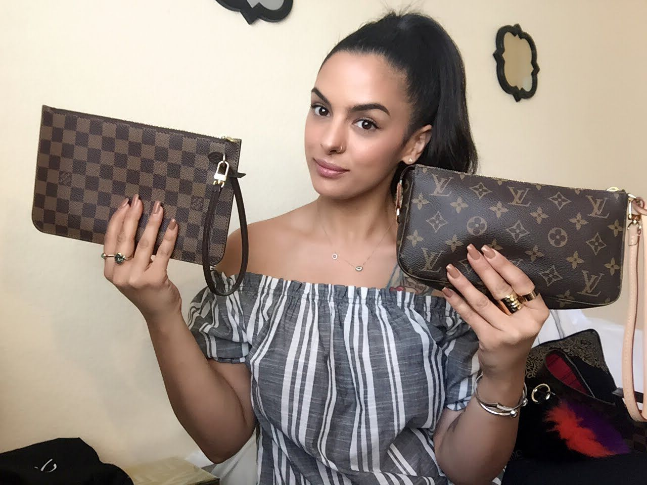 ad1696b10da0 Louis Vuitton Pochette Accessory NM Vs Neverfull Pouch-what fits uses -  YouTube