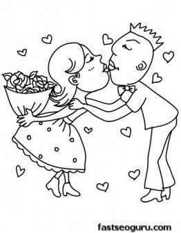 Printable Valentine Girls And Boy Couple In Love Coloring Page For