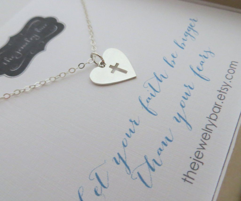 Faith Gifts Birthday Gift For Her Let Your Be Bigger Than Fears Heart Cross Necklace Sterling