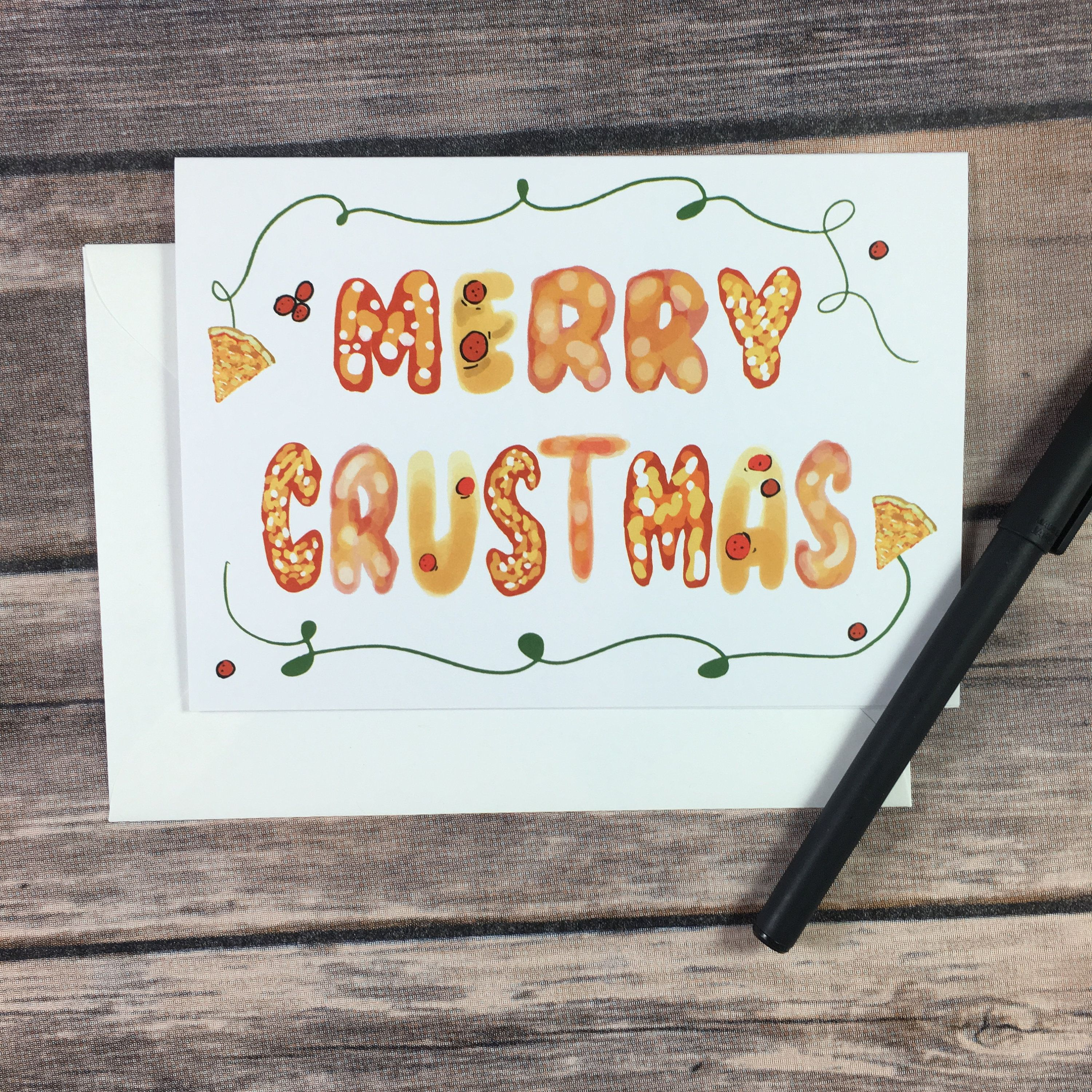 Funny Pizza Christmas Pun Card Pizza Lover Holiday Card Friend Sister Brother Sister Boyfriend Girlfriend Coworker Sisters Boyfriend Christmas Puns Pun Card