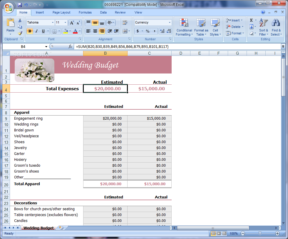 Excel spreadsheet for wedding budget – Your best wedding blog
