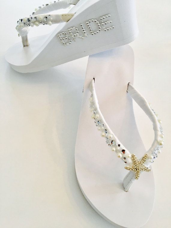 Trendy Bridal Flip Flops Beach Wedding Shoes Rhinestone Pearl