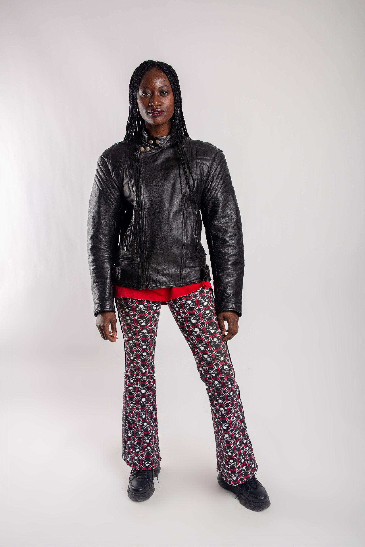 Vintage padded biker jacket, Black leather motorcycle