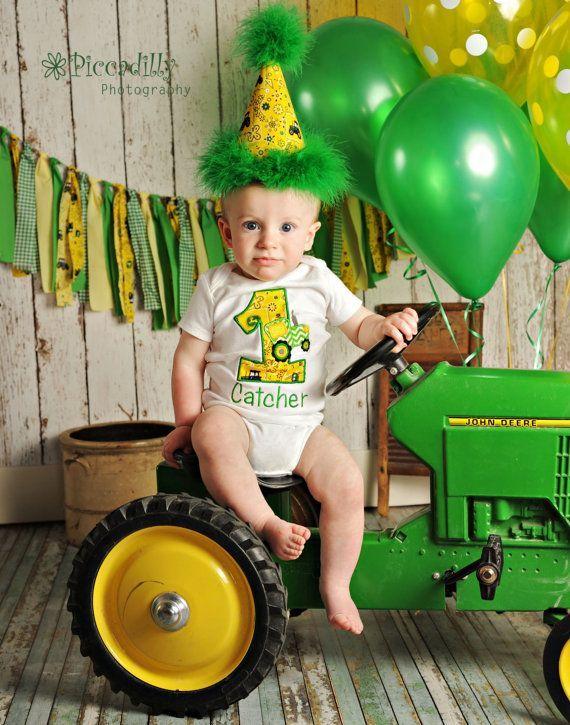 homemade tractor invitation | John deere birthday outfit- first birthday- boys birthday- smash cake
