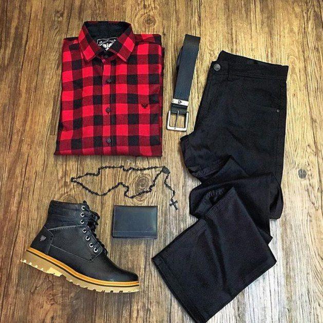 combo-black-camisa-xadrez-vermelha-preta  3360b03061f