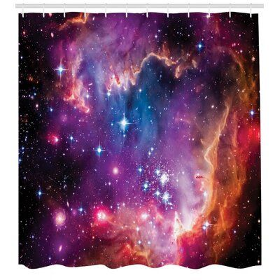 East Urban Home Galaxy Shower Curtain Set + Hooks, Polyester in Blue, Size 70
