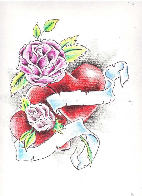 Drawings Of Roses And Hearts | Hearts and Roses by ...