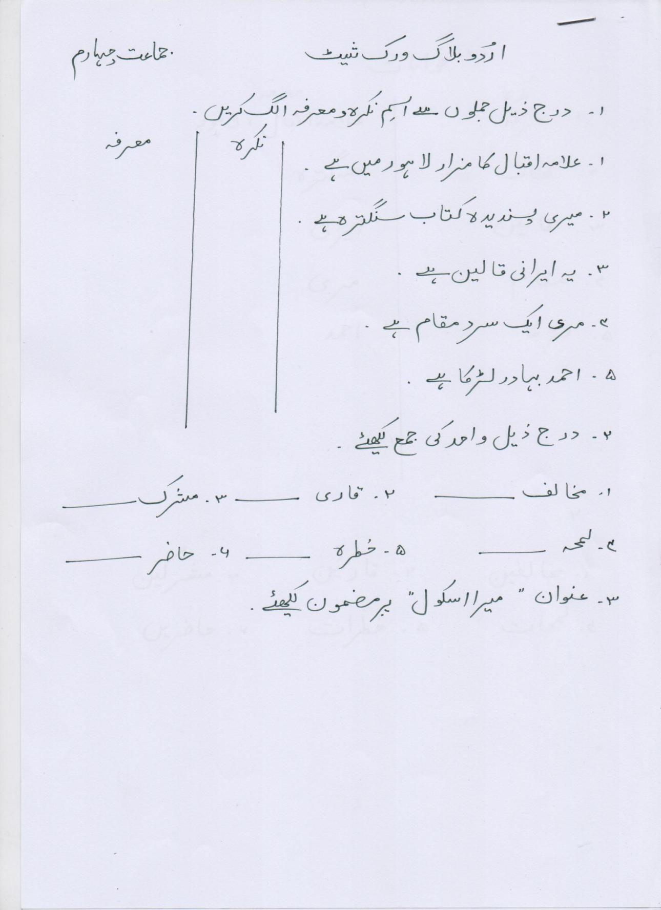 Urdu Blog Worksheet Class 4 20 01 17