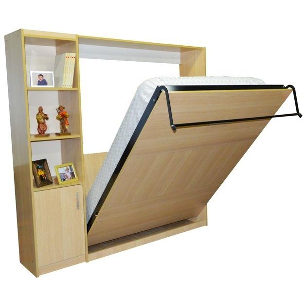 Mueble cama rebatible 2 plazas colchon de 140 cm con for Camas plegables con mueble