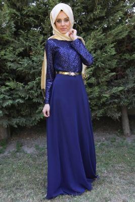 fdbe797c3424f Nurla Abiye Lacivert Pullu Tesettür Abiye Elbise | Muslimah fashion ...